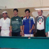 Jogadores de sinuca: Ernesto, Rui Chapéu, Noel e Sobradinho